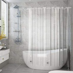 AooHome Clear Shower Curtain Liner, Eva Extra Long Shower Curtain with Hooks, Bottom Magnets, Wa ...