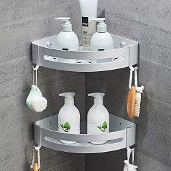 SEVENS No Drilling 2 Tiers Bathroom Shower Corner Shelf Adhesive Corner Caddy for Shower Kitchen ...