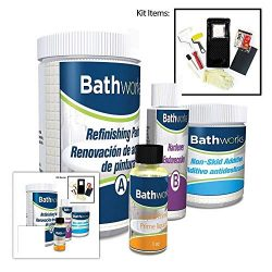 BATHWORKS DIY Combo Kit – WHITE – Bathtub & Wall Refinishing; 42 oz; Non-Slip Pr ...