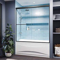 SUNNY SHOWER Bathtub Door Semi-Frameless Bathtub Double Sliding Glass Doors with 1/4 in. Clear G ...