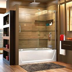 DreamLine Mirage-X 56-60 in. W x 58 in. H Frameless Sliding Tub Door in Chrome; Right Wall Insta ...