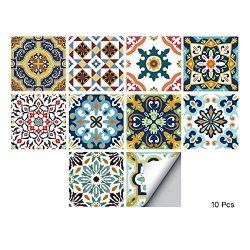 alwayspon Waterproof Vinyl Wall Tiles Sticker for Home Decor, Self-Adhesive Peel and Stick Backs ...
