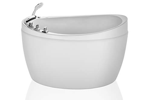 Empava 48 Inch Acrylic Luxury Freestanding Bathtub Soaking SPA Air Massage Tub JT0011W, White