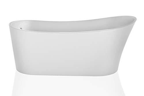 Empava 67″ Luxury Contemporary Bathroom Freestanding White Acrylic Bathtub Soaking SPA Tub ...