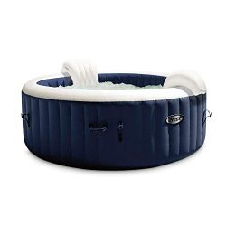 Intex 28429E PureSpa Plus 6.4 Foot Diameter 4 Person Portable Inflatable Hot Tub Spa with 140 Bu ...