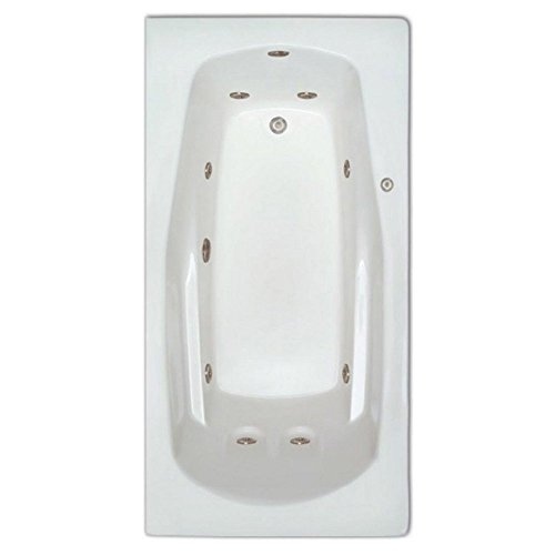 Signature Bath LPI19-W-RD Drop-In Whirlpool Bathtub with Stainless Jets – Right Drain, White