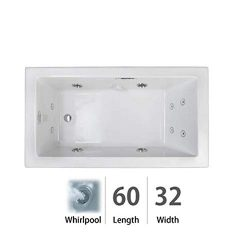 Jacuzzi ELL6032WRL2HXWW Elara Low Profile 60″ x 32″ Acrylic Whirlpool Bathtub for Dr ...