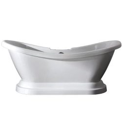 Kingston Brass Aqua Eden VT7DS692828P Contemporary Pedestal Double Slipper Acrylic Bath Tub with ...
