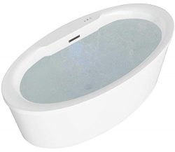 ANZZI Jarvis Whirlpool Air Jetted Acrylic Freestanding Bathtub in White | Over 200 Aero-Therapeu ...