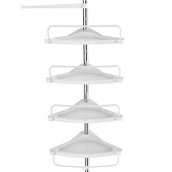 SONGMICS Tension Corner Shower Caddy, Rust-Proof Stainless Steel Pole, Adjustable Floor to Ceili ...