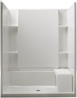 STERLING 72290100-0 Accord 36-Inch x 60-Inch x 74-1/2-Inch Standard Fit Shower Kit with Seat, White