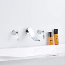 FUZ Wall Mounted Waterfall Bathtub Faucet Contemporary Bathtub Filler 2 Handle Cascade Faucet El ...