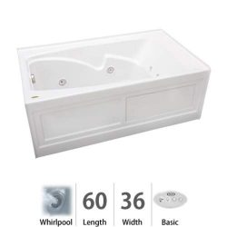 Jacuzzi CTS6036WRL2CHW Cetra 60in x 36in Three Wall Alcove Comfort Whirlpool Bathtub, White