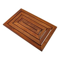 Nordic Style Premium Teak Shower and Bath Mat Heavy-Duty and Dark-Oiled for Indoor and Outdoor U ...
