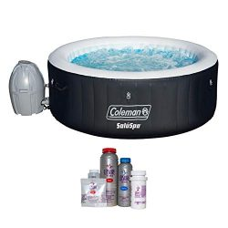 Coleman SaluSpa 4 Person Inflatable Outdoor Spa Hot Tub with Spa Chemical Kit