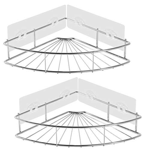 PENGKE 2 Pack Corner Shower Caddy – SUS304 Stainless Steel Corner Bathroom Shelf with Adhe ...