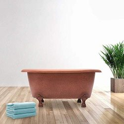 31″ Wexford Baby Hammered Copper Clawfoot Double Roll-Top Tub