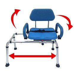 Carousel Sliding Transfer Bench with Swivel Seat. Premium PADDED Bath and Shower Chair with Pivo ...