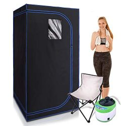 SereneLife SLISAU35BK Full Size Portable Steam Sauna -Personal Home Spa, with Remote Control, Fo ...