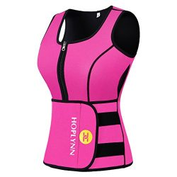HOPLYNN Neoprene Sauna Sweat Vest for Women, Waist Trainer Corset Trimmer Vest with Belt for Wei ...
