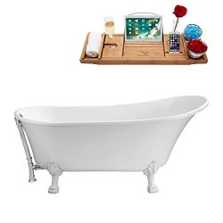 Streamline | Clawfoot Soaking 67″ N340WH-CH Acrylic Bathtub, White | Comes with External D ...