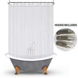 Mrs Awesome Extra Long PEVA 6G Shower Curtain Liners for Clawfoot Bathtub,Water Proof, Odorless  ...