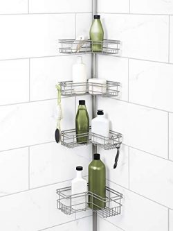 Zenna Home Tension Pole Shower Caddy, Nickel
