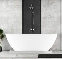Empava Acrylic Freestanding Bathtub 71 inch Contemporary Soaking Tub with Overflow and Drain White