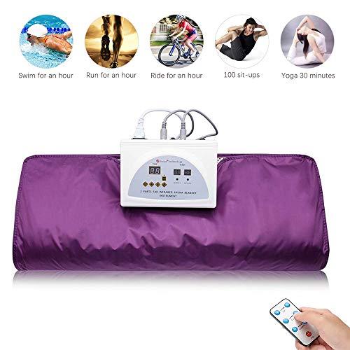 Uttiny Far Infrared Sauna Blanket, 70.8×31.4 Inches 110V 2 Zone Waterproof Detoxification B ...