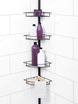Zenna Home Tension Pole Shower Caddy, Bronze