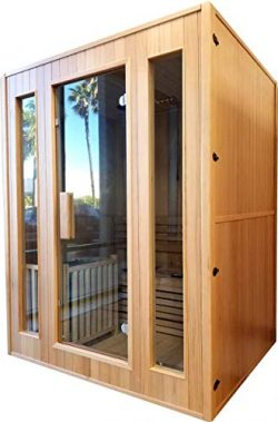 Canadian Hemlock Wood Traditional Swedish 60″ 2 or 3 Person Indoor Sauna Spa, with 6KW Wet ...