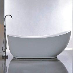 Vanity Art 71-Inch Freestanding Acrylic Bathtub | Modern Stand Alone Soaking Tub with Polished C ...