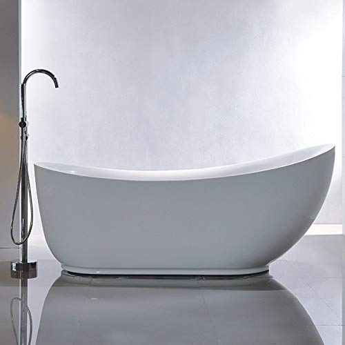 Vanity Art 71-Inch Freestanding Acrylic Bathtub | Modern Stand Alone Soaking Tub with Polished C ...