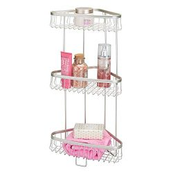 mDesign Metal 3-Tier Bathroom Corner Shower Shelf – Free Standing Vertical Unit Storage Sh ...