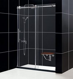 DreamLine Enigma-X 56-60 in. W x 76 in. H Fully Frameless Sliding Shower Door in Polished Stainl ...