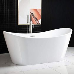 Woodbridge BTA1517/B0017 Acrylic Freestanding Bathtub Contemporary Soaking Tub with Brushed Nick ...