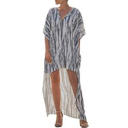 Women's Boho Printed Batwing Sleeve Maxi Dress V-Neck Short Sleeve Blouse Beach Smock Long ...