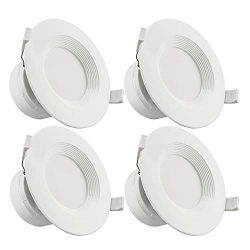 TORCHSTAR 4-Pack 4 Inch LED Recessed Downlight with Junction Box, 7W (60W Eqv.) Dimmable LED Cei ...