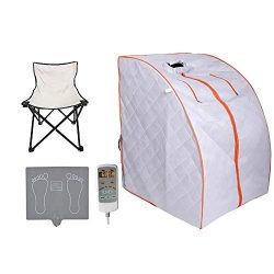 ZONEMEL Portable Far Infrared One Person Sauna, Home Spa Detox Therapy, Heated Floor Pad, Upgrad ...