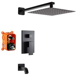 POP 10 Inch Black Shower Faucet Set with Tub Spout Bathroom Luxury Rain Mixer Shower System Wall ...