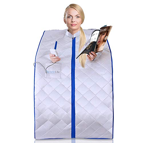 SereneLife Portable Infrared Home Spa | One Person Sauna | Heating Foot Pad and Chair (Renewed)