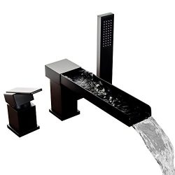 Lovedima Contemporary 3-Hole Bathroom Waterfall Bathtub Faucet Roman Tub Filler with Handheld Sh ...