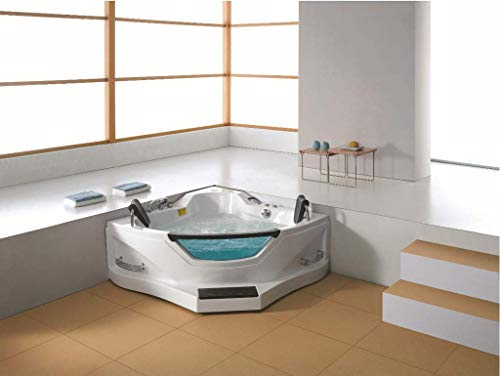 2 Person Luxury Massage Hydrotherapy Recessed Corner Bathtub Tub Whirlpool, with Foot Step, Blue ...