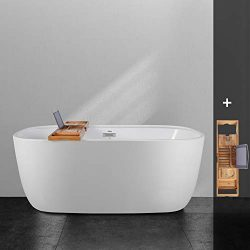 FerdY 59″ Freestanding Bathtub One Side Wide Ledge Oval Shape Freestanding Soaking Bathtub ...