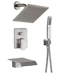 Shower System Luxury bathroom Shower Faucet Fixtures, Wall Mount Rain Mixer Shower Combo With Wa ...