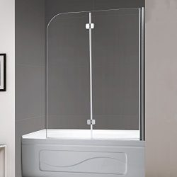 Mellewell Fold 36 in. Width, Frameless Hinged Tub Shower Door Swing Bathtub Screen, 1/4″ T ...