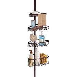iDesign York Metal Wire Tension Rod Corner Shower Caddy, Adjustable 5′-9′ Pole and B ...