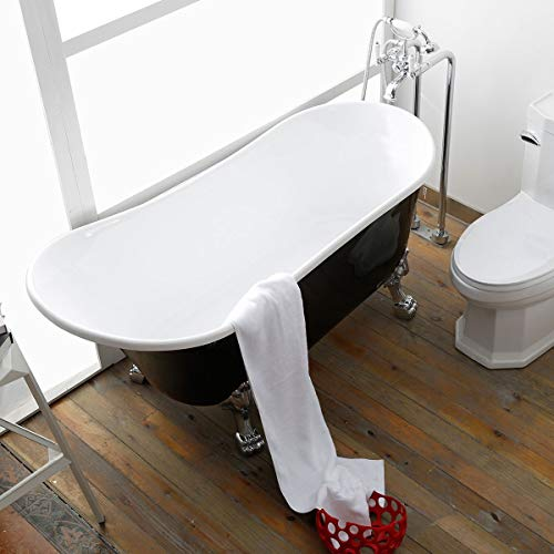63″ Acrylic Clawfoot Bathtub Elegant, Traditional Oval Slipper Tub with Claw Feet for Bath ...