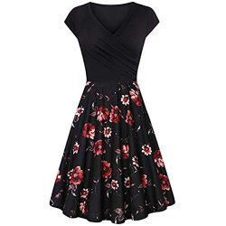 Dresses for Women Chaofanjiancai Summer Cross V- Neck Cap Sleeve Dress Vintage Elegant Flared A- ...
