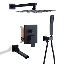 DoBrass Black Shower System with Tub Spout, Waterfall Shower Faucet Set Complete with Pre-embedd ...